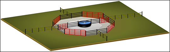 Incorporation of tire waterer in rotational grazing layout
